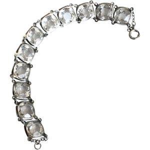 Antique sterling silver rock crystal bracelet